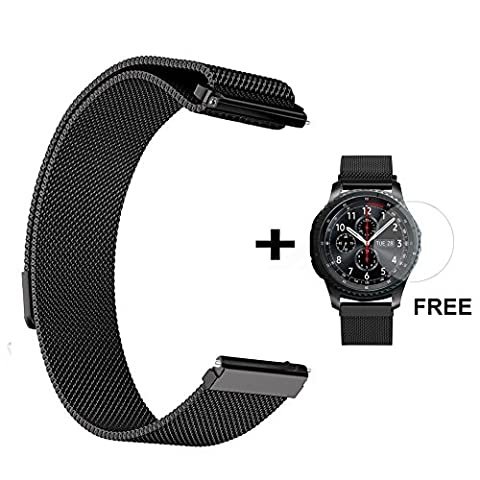 Samsung Gear S3 Watch Band, Stainless Steel Milanese Loop Magnetic Watch Replacement Frontier Classic Strap Fitness(Wrist Bracelet Band + Tempered Glass Screen Protector)