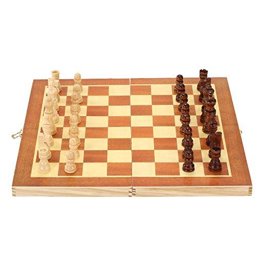Lixada Schachspiel aus Holz International Schach Entertainment Spiel mit Faltbarem Schachbrett