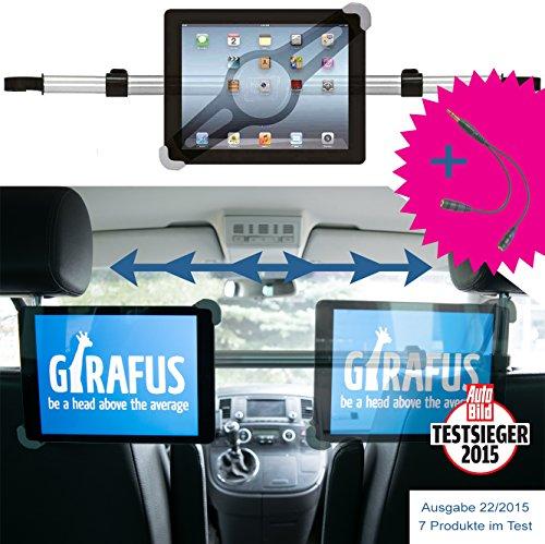 Girafus Relax H3 Universale Tablet Auto Kfz-Kopfstützen-Halterung für Rücksitz für 9-10-11 Zoll Tablets - iPad, Galaxy Tab, Fire HD 10 – Mittig platzierbar für optimale Sicht von der Rücksitzbank (Verstellbare Rohr-halterung)