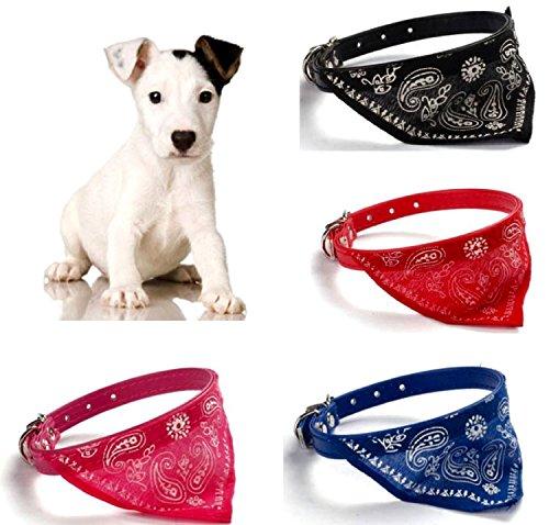 Hundehalstuch mit Halsband - auch für die Katze ROT 23 - 28 cm Kunstleder