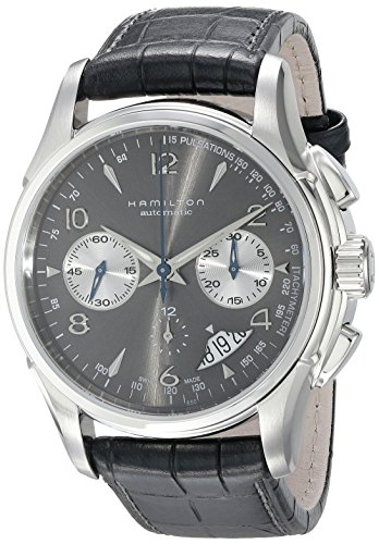 Hamilton Men's 42mm Black Calfskin Band Steel Case S. Sapphire Automatic Grey Dial Watch H32656785