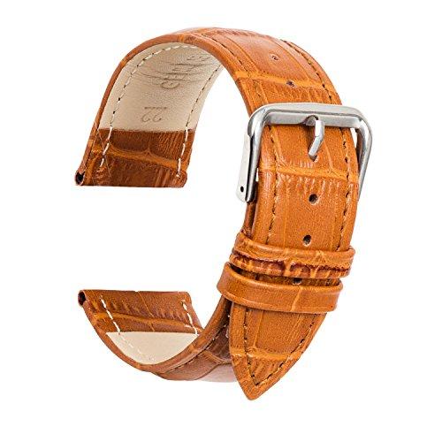 ULLCHRO Unisex Leder Armband mit Edelstahl Silberne Schnalle 22mm Braun 0622zon