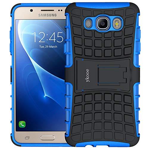 ykooe Galaxy J7 2016 Hülle, (TPU Series) Samsung Galaxy J7 (2016) Dual Layer Hybrid Handyhülle Drop Resistance Handys Schutz Hülle mit Ständer für Samsung Galaxy J7 2016 - Blau