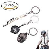 Teepao Llavero de 3 piezas, tamaño pequeño, diseño de Playerunknown's Battlegrounds, nivel 3, accesorio para llavero, llavero con colgante, recuerdo, colección de regalos para llaves de coche