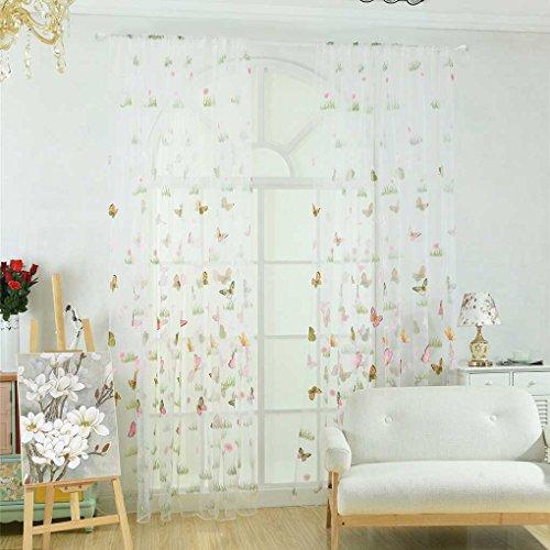Masterein Grünes Gras-Schmetterlings-Blumen-Tulle Vorhang Rod-Taschen Durchlässiger Jalousien Wohnzimmer Hotelfenster drapiert Rosa 100*200cm - Grüne Vorhang Rod