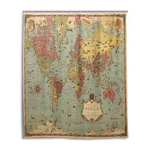 Bad Vorhang für die Dusche 152,4x 182,9cm Vintage Shabby Chic Antike Karte Kompass Polyester-Schimmelfest-Badezimmer Vorhang (Chic Antike Vorhänge)