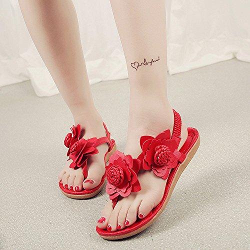 Longra Donna Boemia tallone piano sandali fiore Toe Rosso
