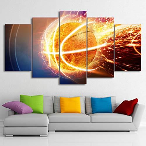 mmwin Modulare Malerei Leinwand Wandkunst Bild Wohnkultur 5 Stücke Sport Feuer Basketball Für Wohnzimmer Moderne HD Print Poster Rahmen 4 40x60 40x80 40x100 cm