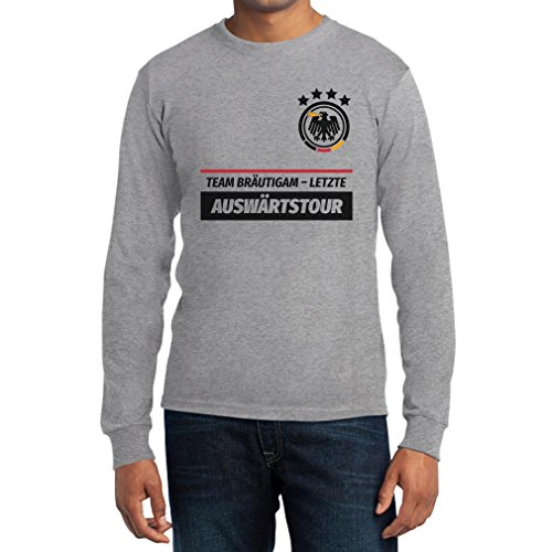 JGA Junggesellenabschied Team Bräutigam Letzte Auswärtstour Langarm T-Shirt Large Grau (Gruppe Team Kostüm Ideen)