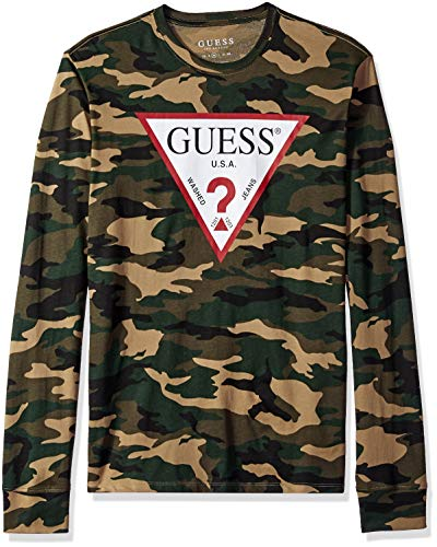 Guess Herren Long Sleeve CAMO Print T-Shirt, Traditional Green, XX-Large Baby Guess Jean