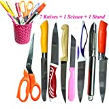 #3: Vishal India Craft Kitchen Knives Set, Knife set with scissor and stand, combo of 7 knives 1 scissor and stand.