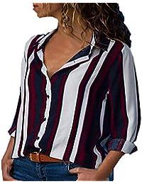 VJGOAL Mujer Otoño e Invierno Casual Manguito Manga Larga Cuello En V Botones Camisa de Manga Larga a Rayas Salvaje clásico Blusa