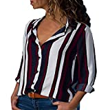 MRULIC Damen Shirt Tie-Bow Neck Striped Langarm Spleiß Bluse Gestreift Damen Tragen(V9-Rot,EU-44/CN-XXL)