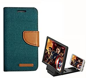 Aart Fancy Wallet Dairy Jeans Flip Case Cover for MicromaxQ380 (Green) + 3D SCREEN MAGNIFIER - HD VIDEO AMPLIFIER - with Stylish foldable holder stand by Aart Store.