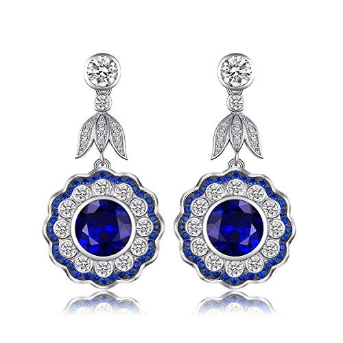 7.0ct Erstellt Sapphire Flower Drop Ohrringe 925 Sterling Silber (Sapphire Halo Ohrringe)