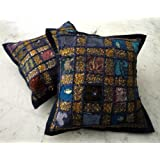 Amazing India 2 Purple Embroidered Sequin Patchwork Indian Sari Cushion Covers