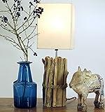Lámpara de mesa Kuma hecha de material natural, soporte AU trozos de madera, pantalla de algodón para lámpara/madera con pinchos Leuchten