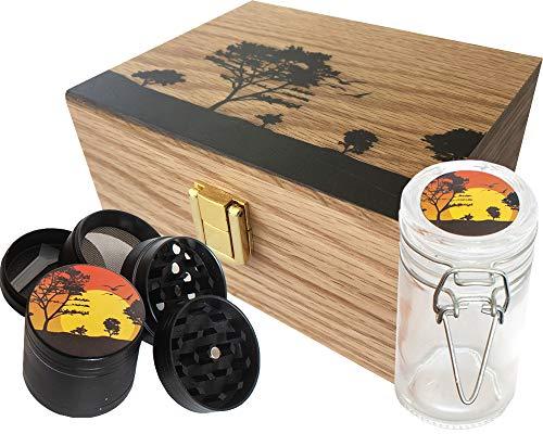 StashAM Aufbewahrungsbox mit Mahlwerk - inkl. 4-teiliger Kräutermühle aus Zinklegierung, geruchs- und luftdichtem Glas, Aufbewahrungsbehälter aus geprägtem Holz (Box Stash Unkraut Für)