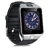 Jiazy portable Bluetooth Smart Watch avec emplacements pour appareil photo SIM Carte TF Podomètre de Sommeil Tracker de fitness pour Smartphones Android Téléphone(Noir)