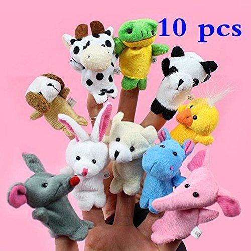 Efbock-Zoo Bauernhof-Tierplüsch-Handmarionetten-Finger-weiches Spielzeug zum Baby-Kind-Kinder 10pcs (Farm Animal Finger Puppets)