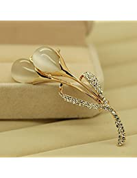 TT Joyería cristalina elegante de alta calidad de la broche del ojo de gato femenino,Oro,7cm * 2.5cm