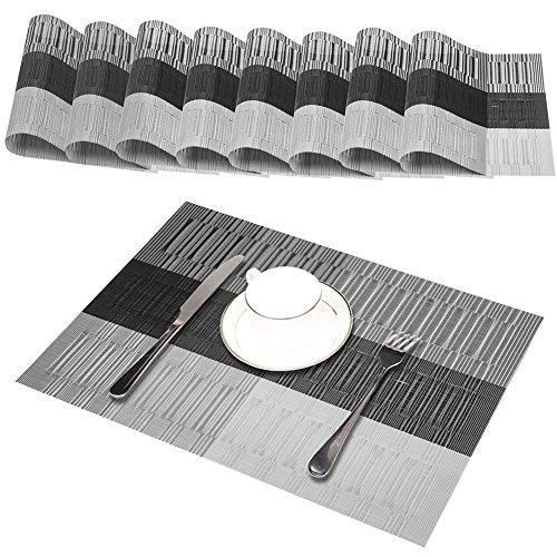GODTEN Platzdeckchen (8er Set) Platzset Abwischbar - Hitzebeständig und Abgrifffeste Waschbare Tischmatte - Grau Tischset Kunststoff für Küche Speisetisch - 30x45cm (8er, A3)