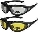 2er Pack Choppers 911 Sonnenbrillen Motorradbrille Sportbrille Radbrille - 1x Modell 02 (schwarz / annährend transparent) und 1x Modell 03 (schwarz / gelb getönt) - Modell 02 + 03 -