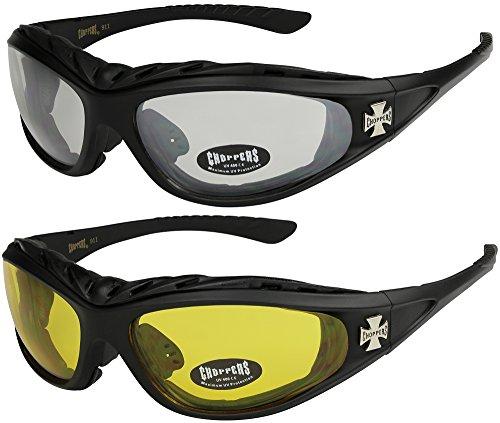 2er Pack Choppers 911 Sonnenbrillen Motorradbrille Sportbrille Radbrille - 1x Modell 02 (schwarz/annährend transparent) und 1x Modell 03 (schwarz/gelb getönt) - Modell 02 + 03 -