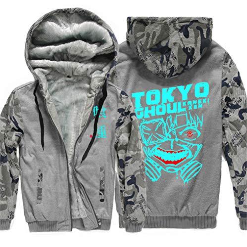 Cosstars Tokyo Ghoul Anime Sudadera con Capucha Sweatshirts Hombre Cosplay Disfraz Invierno Espesar Luminoso Suéter Chaqueta 3 L