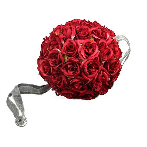 QHGstore 18 centimetri fiore della Rosa palle nuziale sfera Bouquet Romantic Flower per la festa nuziale rosso