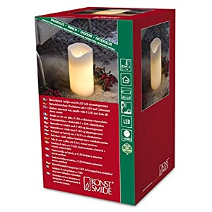 Konstsmide 1941-100 LED Candle Real Wax/Height 20 cm/Switch/Melting Wax Look / 2 Warm White Diodes/Batteries 2 x C 1.5V