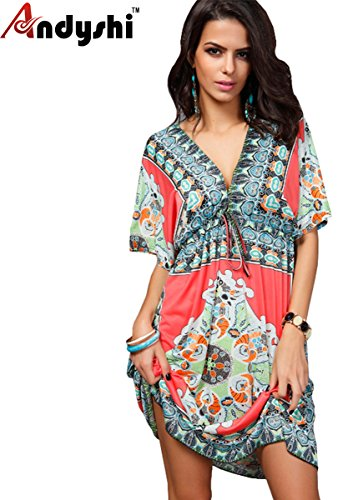 Bohemia Andyshi Women's Sexy Hot Sommer Deep V-neck Loose Cover up Höschen  Rot -