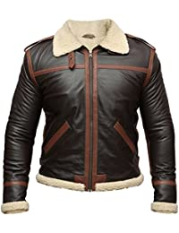 "Resident Evil 4 Leon Kennedy Shearling Brown Real Leather Jacket (L-For Person With Chest (41"" or 104cm))"