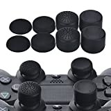 YoRHa Professionelle Aufsätze Daumengriffe Thumb Grips Thumbstick Joystick Cap Cover (schwarz) Extra Hoch 8 Stück Pack für PS4, Switch PRO, PS3, Xbox 360, Wii U Tablet, PS2 Controller