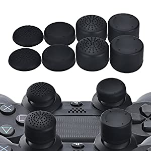 YoRHa Professionelle Aufsätze Daumengriffe Thumb Grips Thumbstick Joystick Cap Cover (schwarz) Extra Hoch 8 Stück Pack…