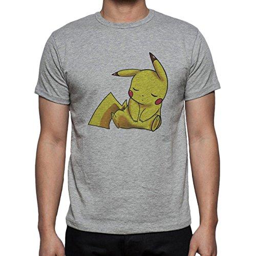 Pokemon Pikachu Electric Rat Yellow Sleep Herren T-Shirt Grau