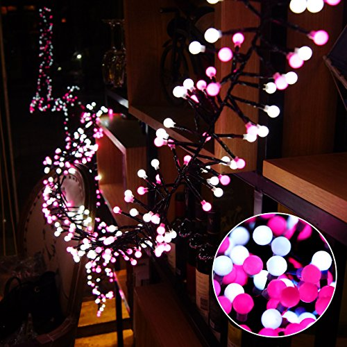 Globe LED Lichterkette, Kugel LED Lichterkette Innen/Aussen Deko Glühbirne Weiß und Rosa 400er 8 Modi mit Memory-Funktion Weihnachtsbeleuchtung für Party, Garten, Weihnachten, Hochzeit, Weihnachtsbaum (Rosa Glühbirnen)