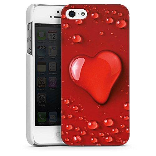 Apple iPhone 4 Housse Étui Silicone Coque Protection Amour eau goutte C½ur Motif CasDur blanc