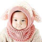 Unisex Baby Mütze, Strickmütze Warm Wintermütze, Earflap Hut Kappe Schnee Hut, Schlupfmütze Schalmütze Hündchen (Rosa)