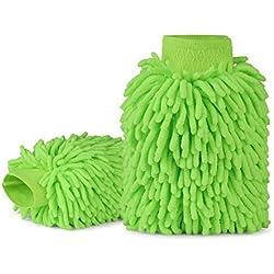 Car Wash Mitt microfibra Chenille guante manopla de microfibra–Casa Coche Limpieza,–sin pelusas–libre de arañazos, morado, azul y verde)