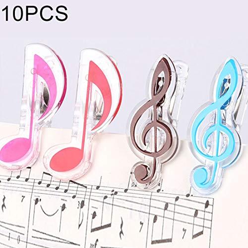 Gitarren Zubehör 10 PCS PP Material Edelstahl Feder Music Note Form Buch-Klipp-Deluxe Page Holder, zufällige Farbe Lieferung ZYS