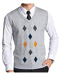 Herren V Ausschnitt Slim Argyle Muster Fit Pullunder Wollweste Modernas Lässig  Strickweste Weste Mode Casual Ärmellos afed8c3eb0