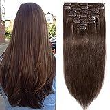 Clip in Extensions Echthaar günstig Haarverlängerung Remy Echthaar 8 Tressen 18 Clips Glatt 45cm-100g(#4 Schokobraun)