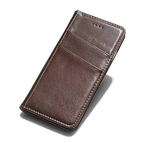 JIALUN-Telefon Fall Für IPhone 7 mit äußeren 2 Kartensteckplätze Stilvolle hochwertige echtem Leder Fall horizontale Flip Stand Case Cover ( Color : Wine ) Brown