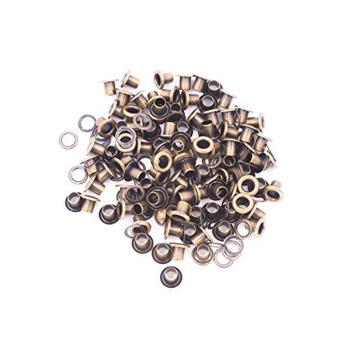 100x 6mm Tüllen Ösen mit Scheiben für Leder Handwerk–Zubehör für dekorative Bänder hinzufügen, Schnürung und Stoff in Kunst und nähprojekte–Ideal für Taschen, Kleidung und Scrapbooking, bronze (Tülle Silk)