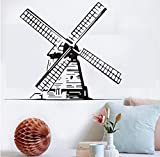 sasdasld Big Windmill Wall Sticker Retro Mulino a vento Vinyl Decal Architecture Home Interior Art Murales Art Nursery Bedroom Ideas 69 * 58cm