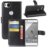 Excelsior Premium Leather Wallet Flip Cover Case For Google Pixel 2 (Black)