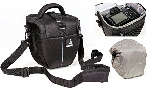 Bolsa de funda BODYGUARD Colt M Bolso de cámara con protector de lluvia pra todas las cámaras SLR con un objetivo de hasta 18cm tal como Canon EOS 70D 77D 80D 100D 200D 1200D 1300D 2000D 4000D 700D 750D 760D 77D 800D Nikon D3300 D3400 D5100 D5300 D5500 D5600 D7200 D7500