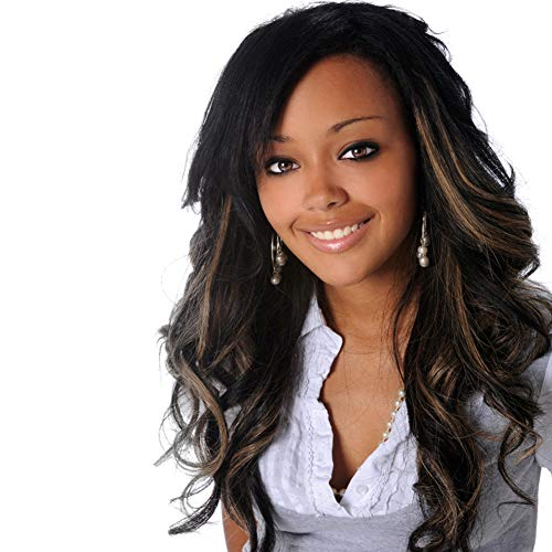 Price comparison product image High Grade Brown Long Curly Wig Fascinating Women Long Curly Wig With Free Wig Cap (Deep Brown)