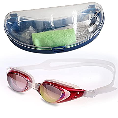 Kingseye Anti-Fog 100UV Swimming Goggles with Protective Case , Nose Clip , Ear Plugs for Adult Children Men Women And